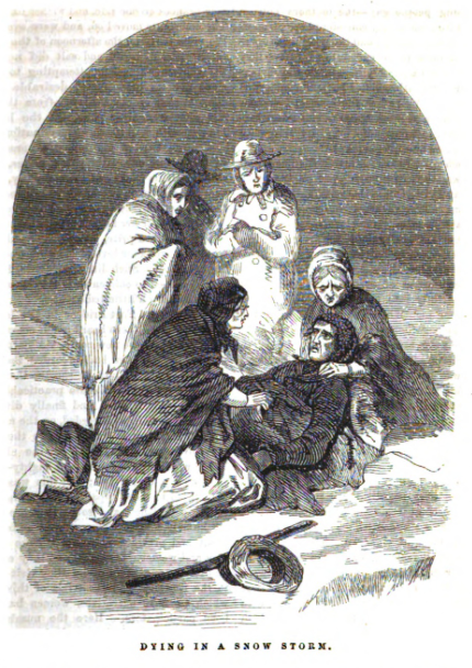 """Illustration depicting Frankling Graves' death in the snow, titled """"Dying in a snow storm.""""; Source: Graham's Illustrated, 1857"""